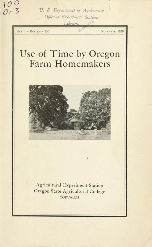 Use of Time by Oregon Farm Homemakers Cover.jpg