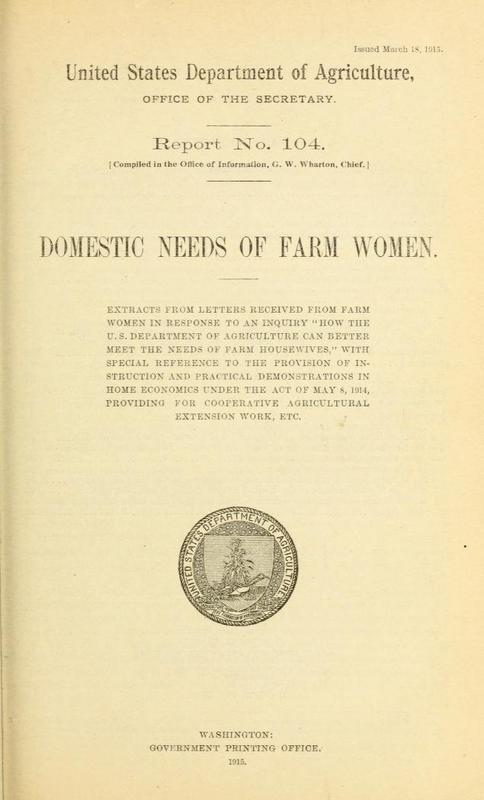 Domestic Needs of Farm Women: