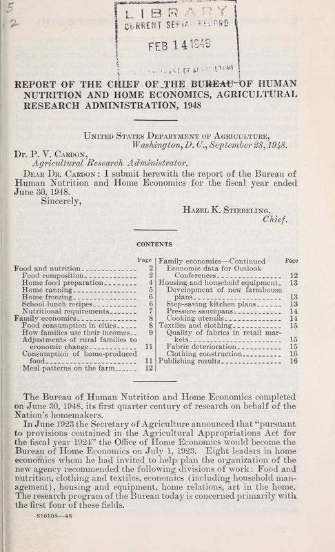 Report of the Chief of the Bureau of Home Economics