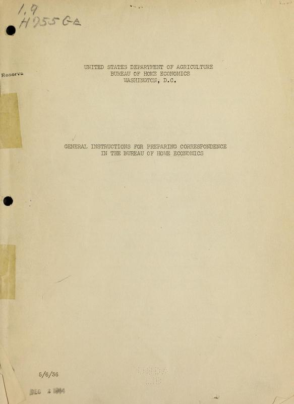 General Instructions for Preparing Correspondence in the Bureau of Home Economics Cover.jpg