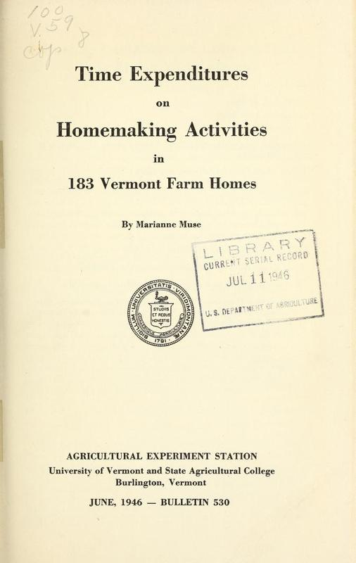 Time expenditures on homemaking activities in 183 Vermont farm homes Cover.jpg