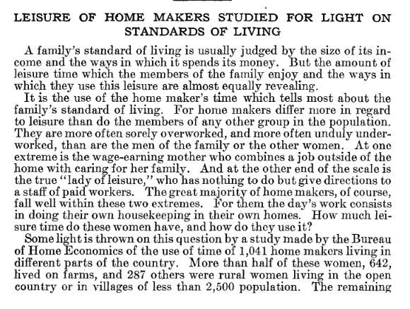 Leisure Of Home Makers Studied For Light On Standards Of Living