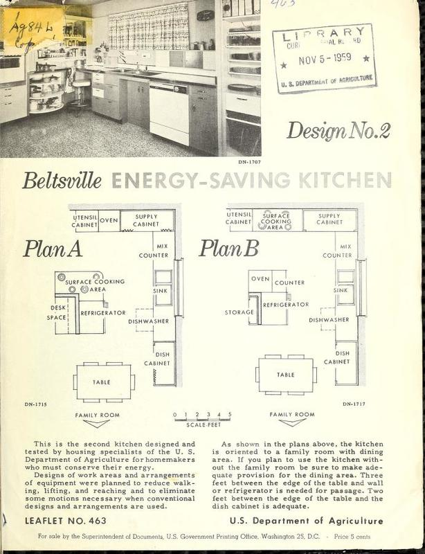 Beltsville Energy-Saving Kitchen: Design No. 2