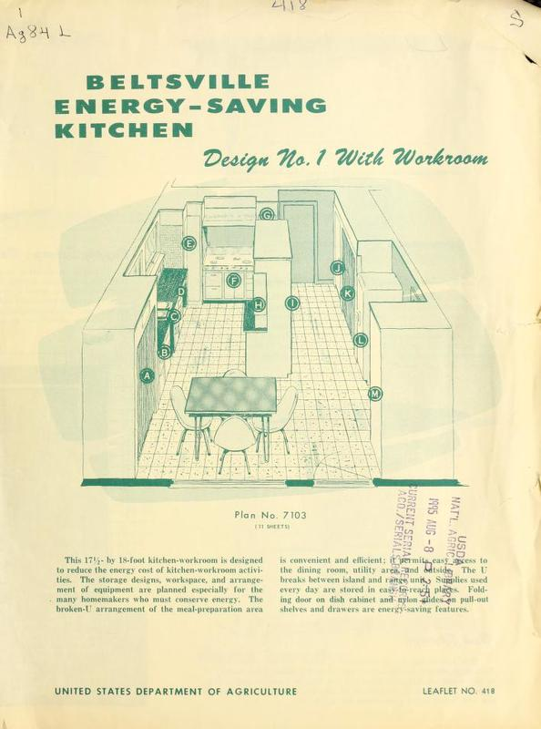 Beltsville Energy-Saving Kitchen: Design No. 1 With Workroom