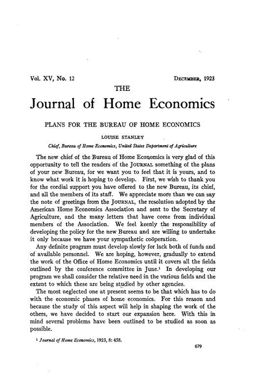 Plans for the Bureau of Home Economics