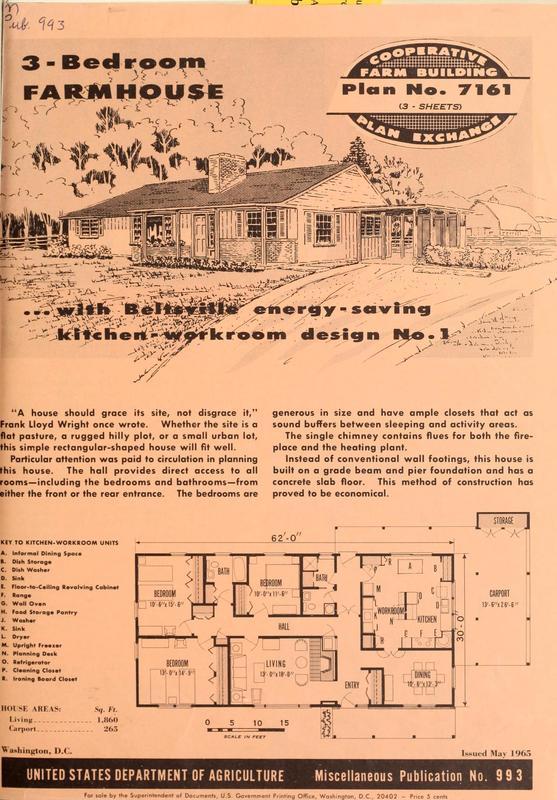 3-Bedroom Farmhouse With Beltsville Energy-Saving Kitchen-Workroom Design No. 1