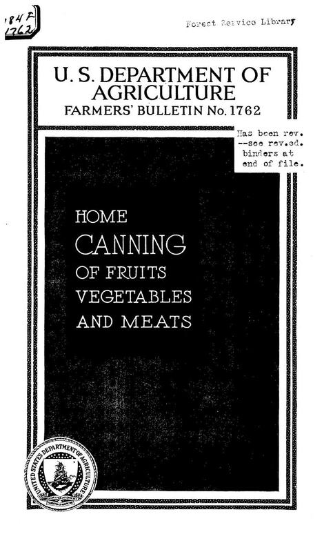 Home Canning of Fruits, Vegetables, and Meats