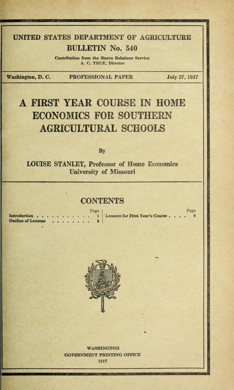 A First-Year Course in Home Economics for Southern Agricultural Schools