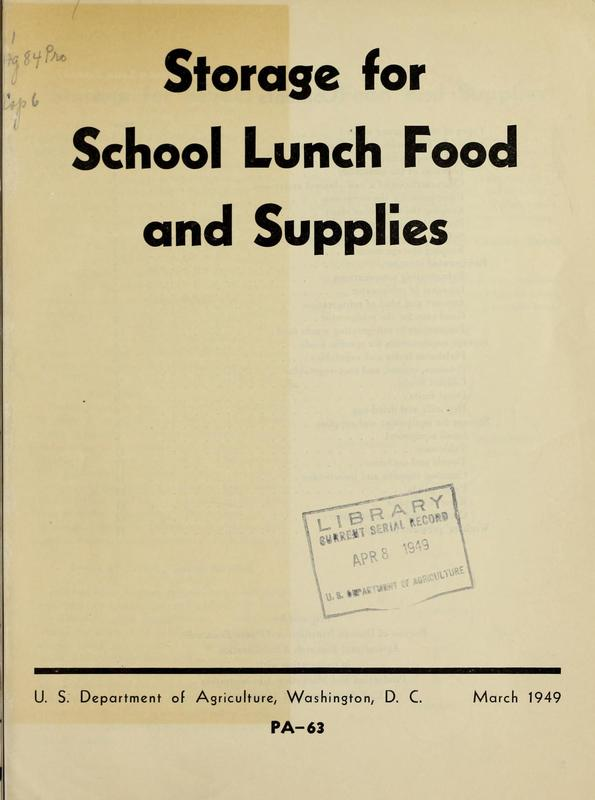 Storage For School Lunch Food and Supplies