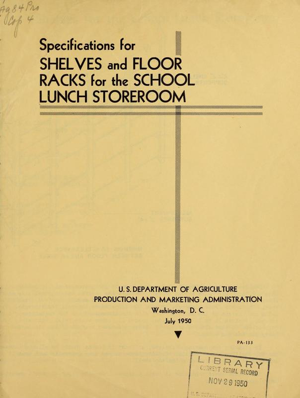 Specifications for Shelves and Floor Racks for the School Lunch Storeroom