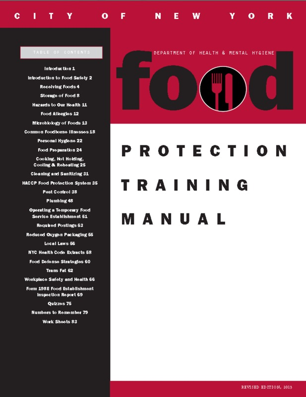 Department of Health and Mental Hygiene Food Protection Training Manual cover page.PNG