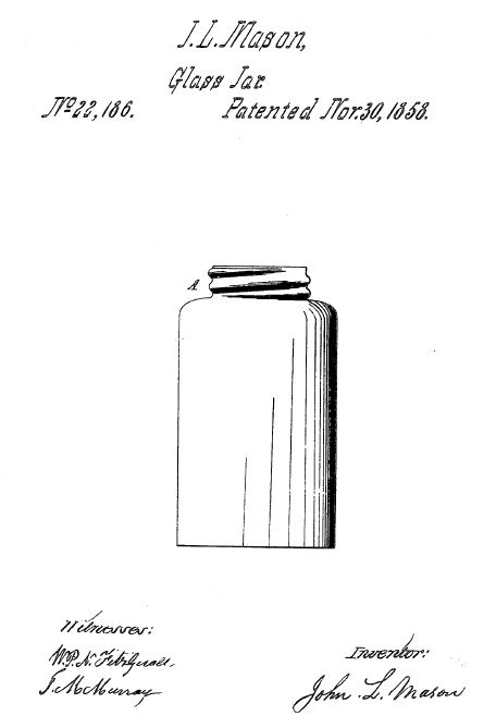 Illustration of Mason jar from U.S. Patent Number 22,186