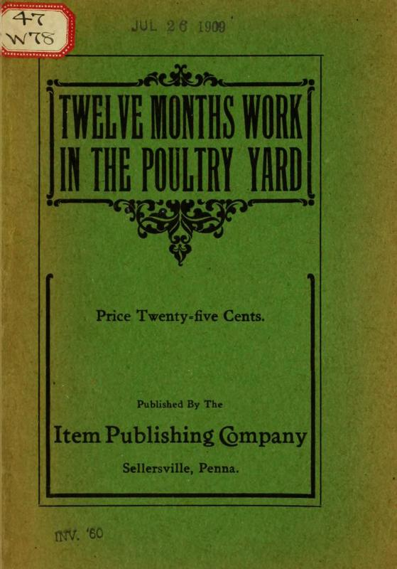 Twelve Months Work in the Poultry Yard
