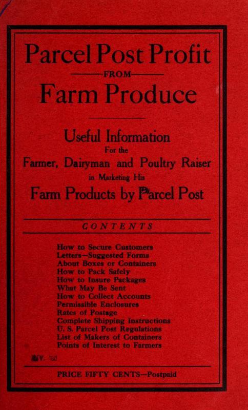 Parcel Post Profit From Farm Produce