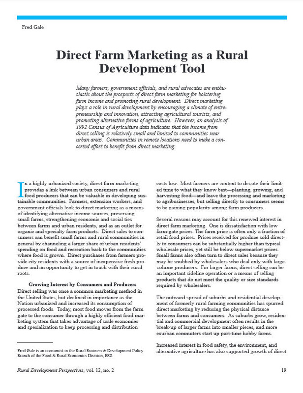 Direct Farm Marketing as a Rural Development Tool