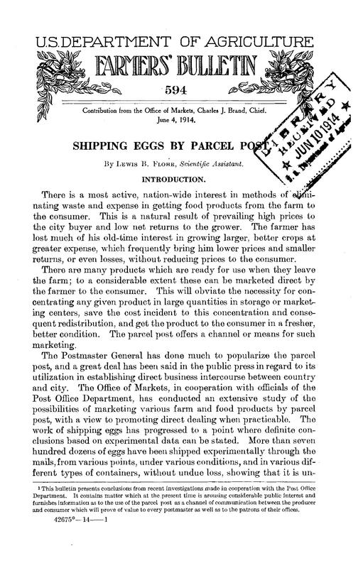 Shipping Eggs by Parcel Post