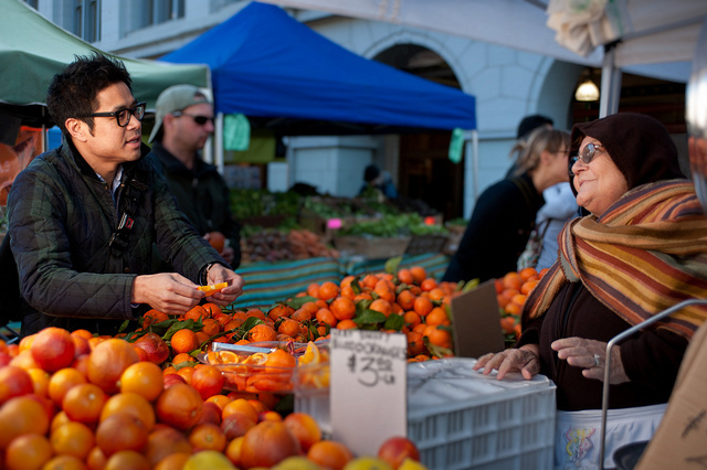 Trying Orange Slices at the San Francisco Farmers Market.jpg