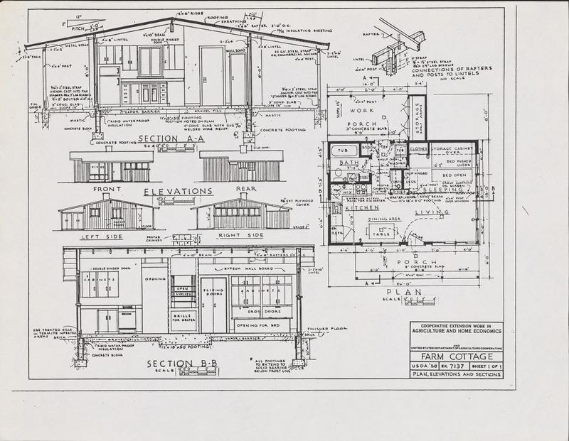 Plan No. 7137: Farm Cottage House Plans - Blueprint