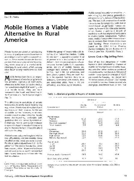 Mobile homes a viable alternative in rural America