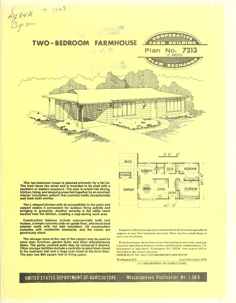Plan No. 7213: Two-Bedroom Farm House