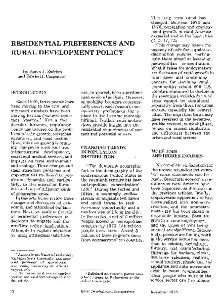 Residential preferences and rural development policy