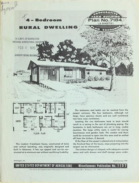 Plan No. 7184: 4-Bedroom Rural Dwelling