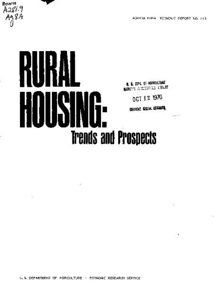 Rural housing : trends and prospects