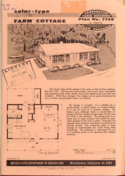 Plan No. 7148: Solar-type Farm Cottage