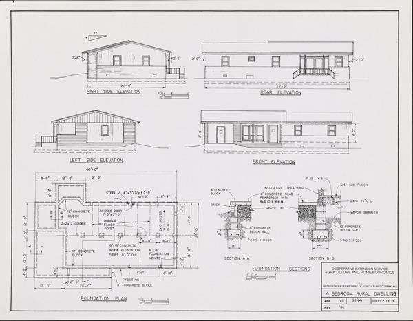 Plan No. 7184: 4-Bedroom Rural Dwelling Plans. Blueprint