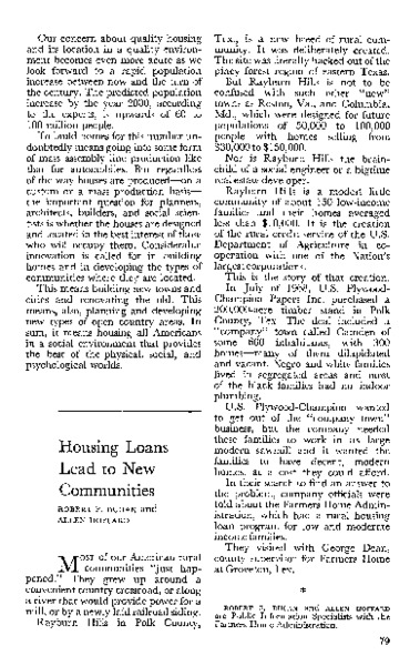 Housing loans lead to new communities