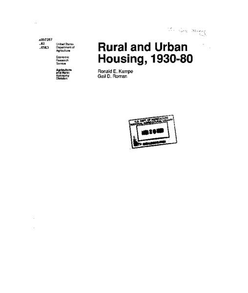 Rural and urban housing, 1930-80