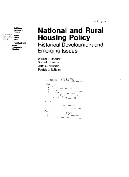 National and rural housing policy : historical development and emerging issues