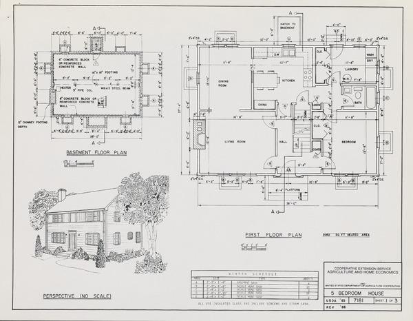 Plan No. 7181: 5-Bedroom Rural Dwelling Plans. Blueprint