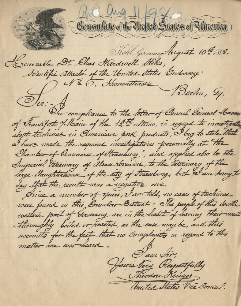 Theodore Krieger letter to Charles Wardell Stiles regarding his inquiry at the Chamber of Commerce of Strassburg, Germany as to whether any cases of trichinae were found in the District, August 10, 1898