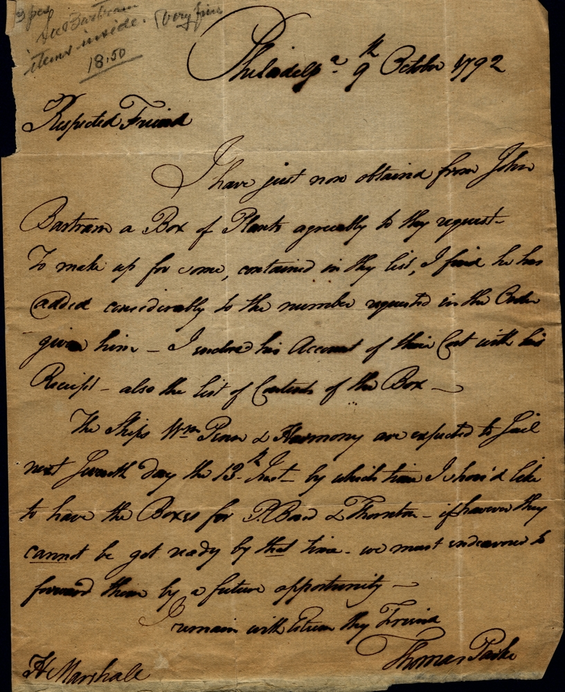 Dr. Thomas Parke to Humphry Marshall, October 9, 1792.