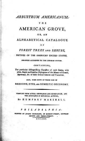 Arbustum Americanum, Title Page and Dedication