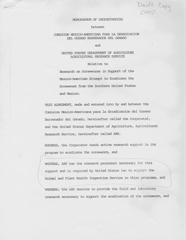 Memorandum of Understanding between Comision Mexico-Americana Para La Erradicacion Del Gusano Barrenador Del Ganado and United States Department of Agriculture, Agricultural Research Service