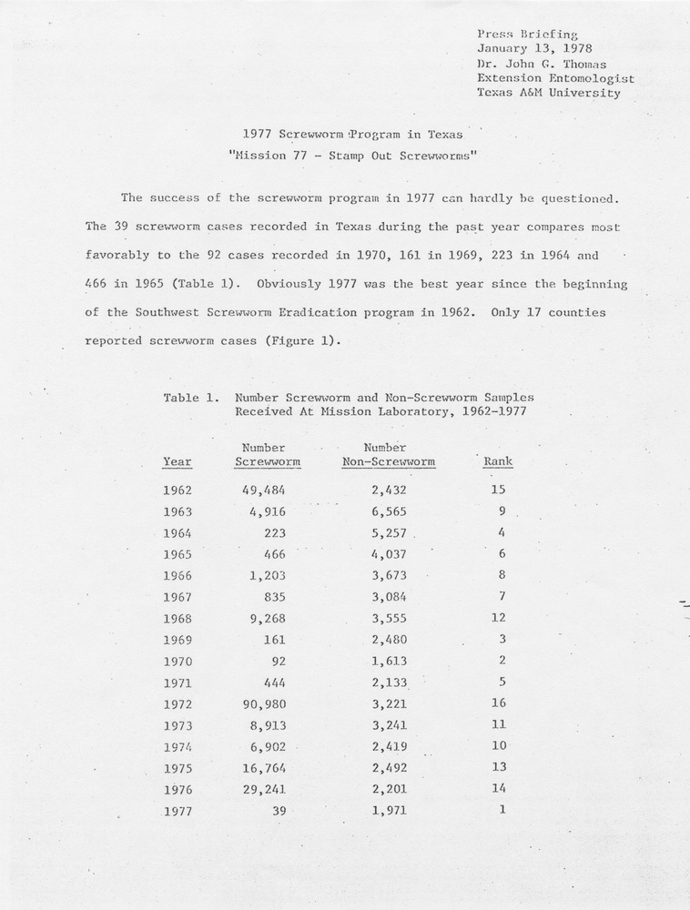 1977 Screwworm Program in Texas: 'Mission 77 - Stamp Out Screwworms'