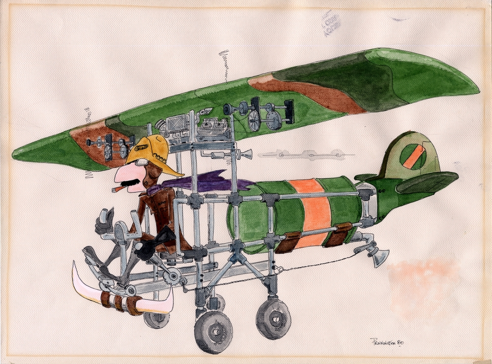 """Drawing: Caricature (in color) of Ranch Hand pilot flying C-123 with Agent Orange drum on board, signed """"Pennington 80"""""""