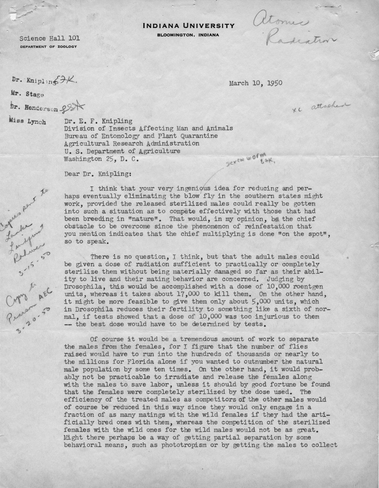 Letter from H. J. Muller to Edward F. Knipling. 1950 March 10.