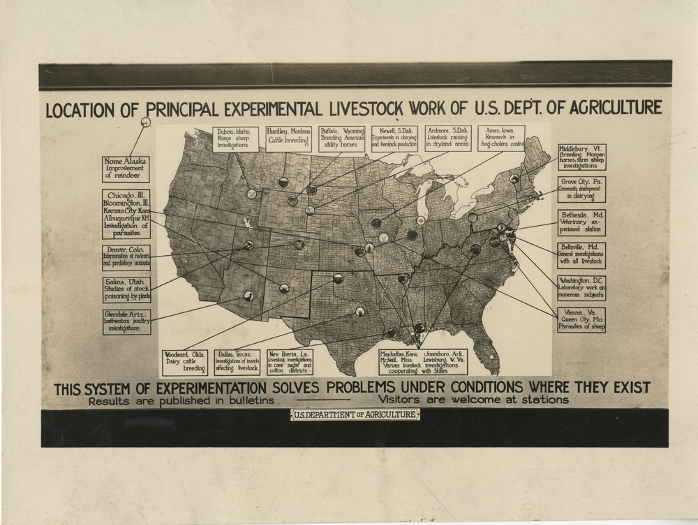 Thumbnail for the first (or only) page of Location of Principal Experimental Livestock Work of U.S. Department of Agriculture.