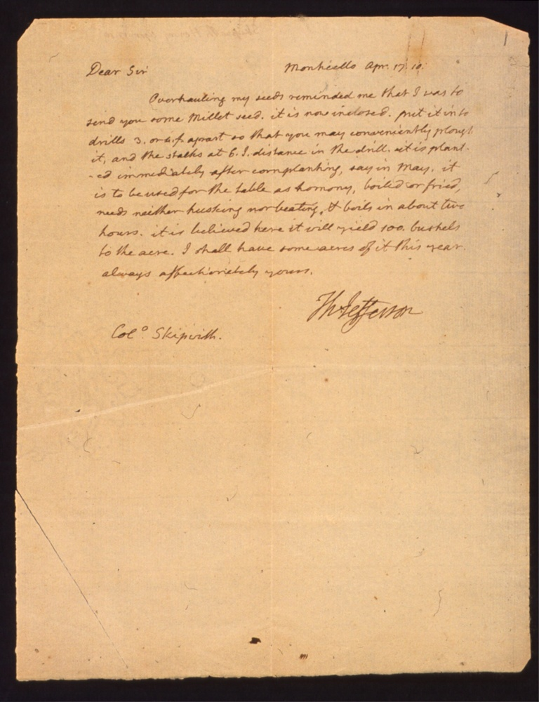 Letter from Jefferson, Thomas to Col. Skipwith, concerning millet seed.