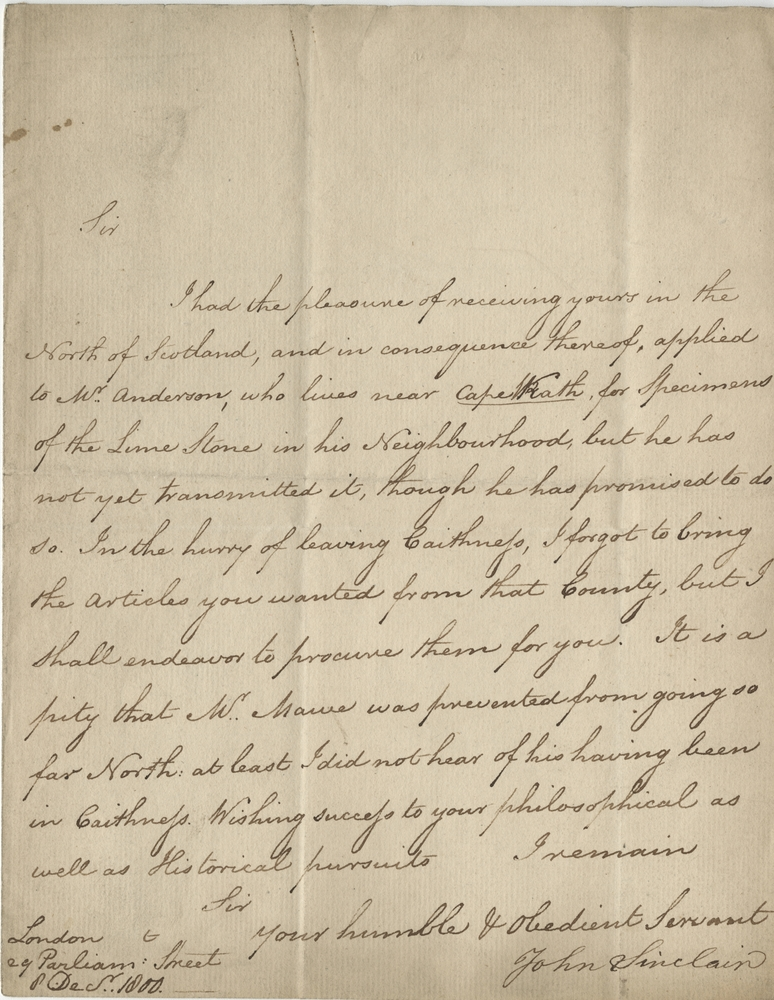 Sir John Sinclair letter. USDA History Collection
