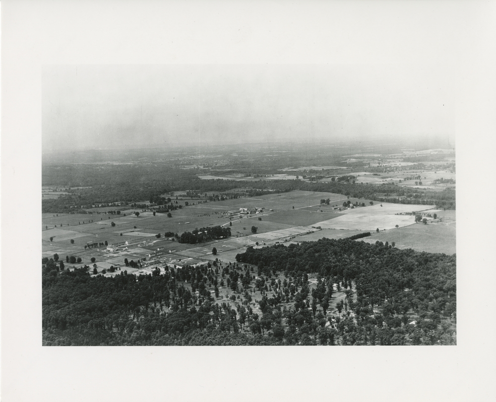 Thumbnail for the first (or only) page of View of first purchase of land by USDA for Beltsville Research Center (1910); 4 acres from Good-year Blimp.