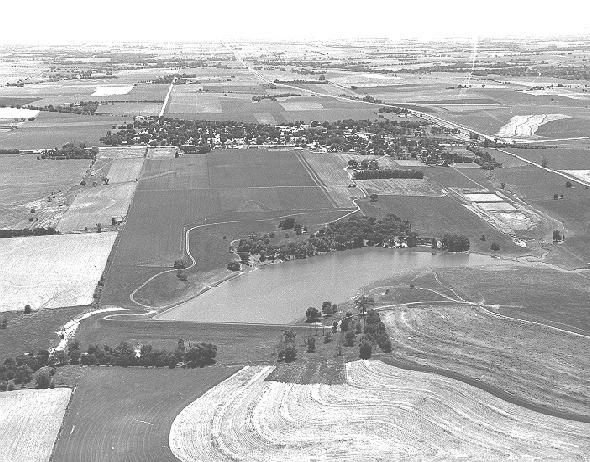 Contour farming near a watershed