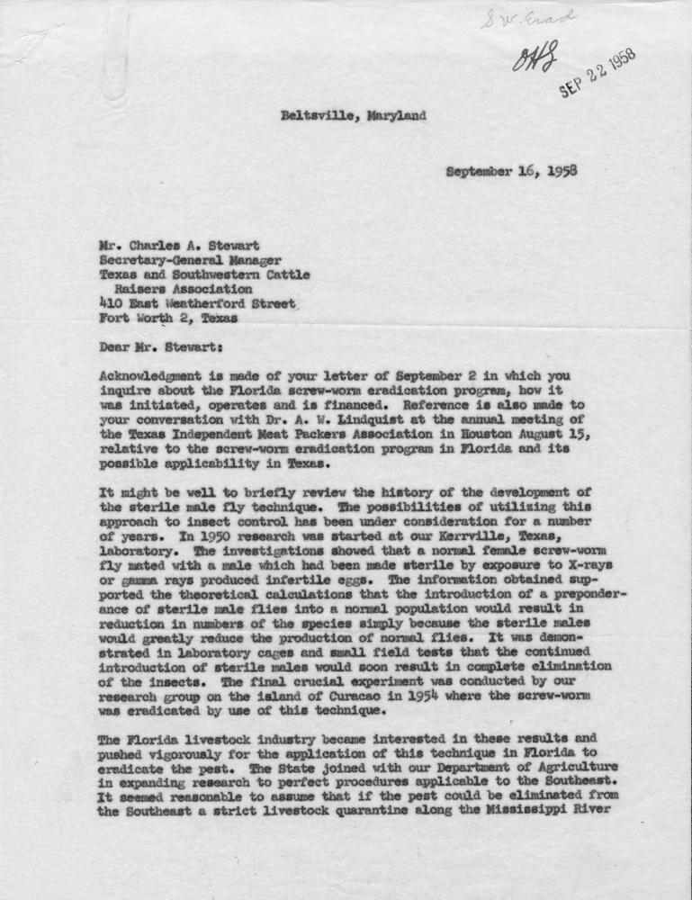 Letter from Knipling to Stewart, 1958-September-16