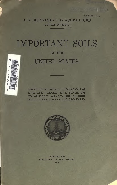 Front cover of 'Important Soils of the United States'