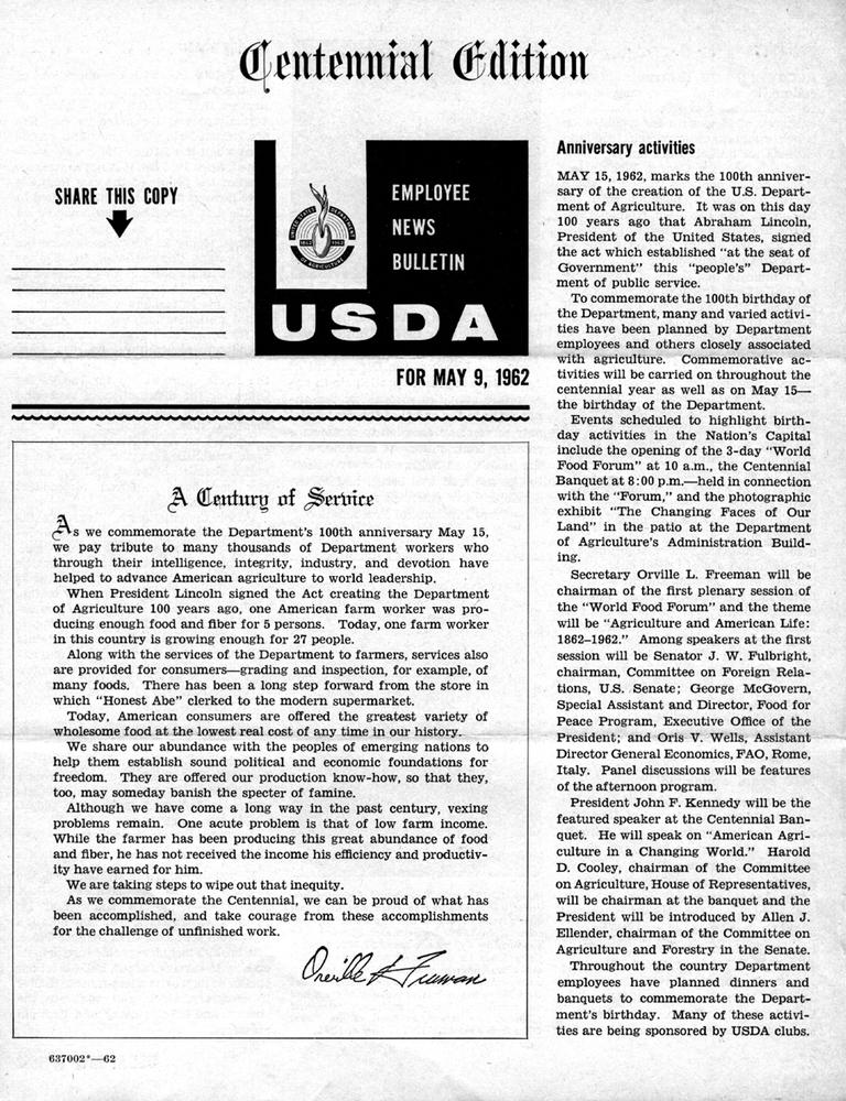 <em>USDA</em> Centennial Edition