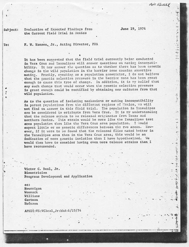Memo from Beal, Jr to Hansen, 1974-June-19