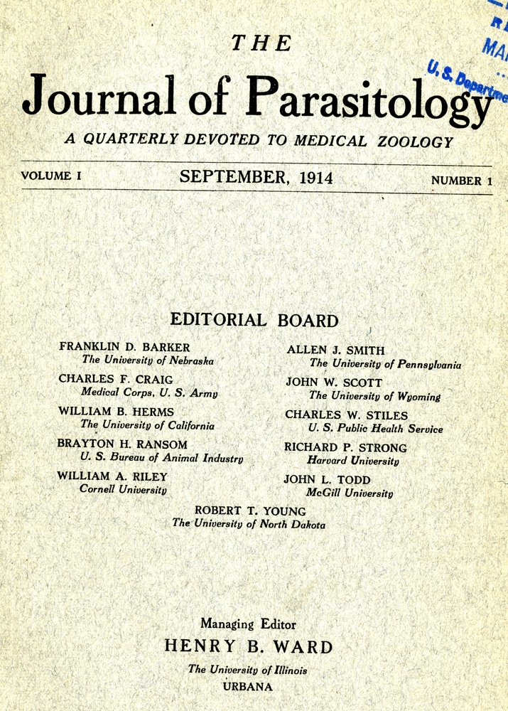 Cover, Journal of Parasitology, Volume 1.